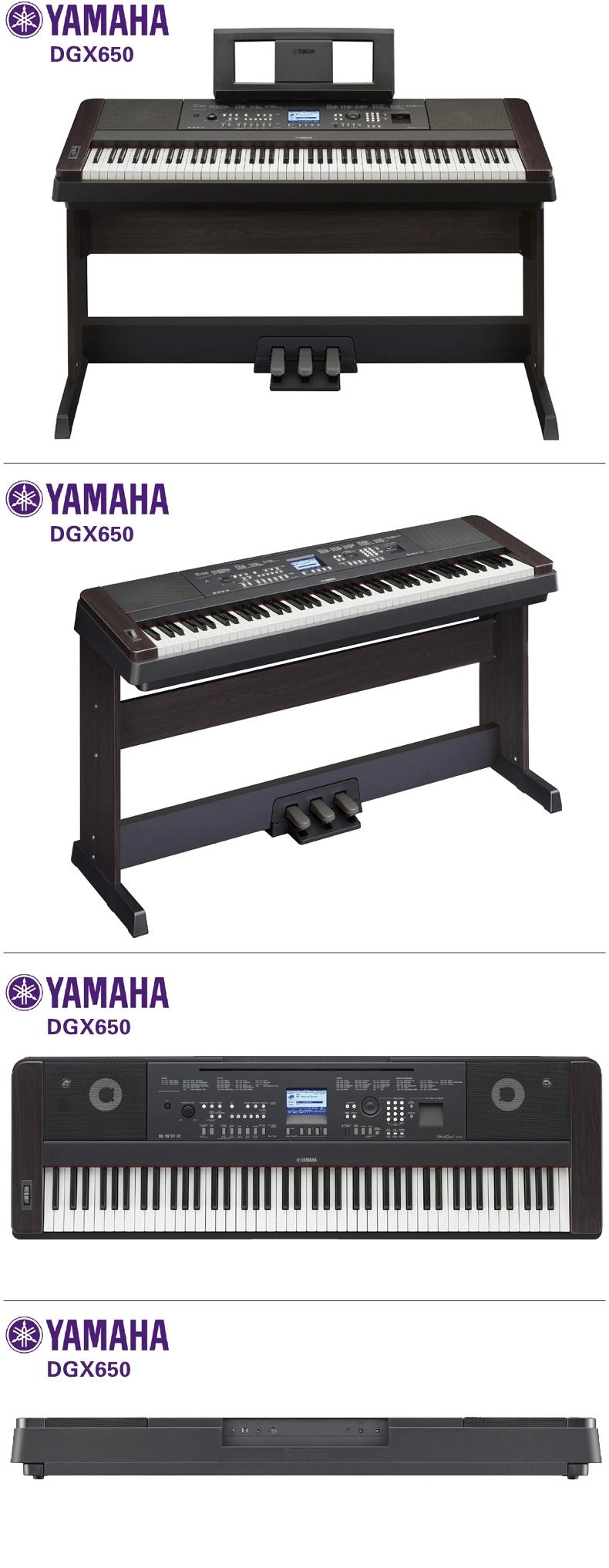 音色采样自雅马哈顶尖的CFIIIS音乐会三角钢琴,并配备了渐层式锤感标准(GHS)键盘。前置式的立体声扬声器系统,让更写实的音乐动态传达到您的耳膜。 雅马哈和世界著名音乐出版社有合作,可以根据受欢迎程度,编配专业的伴奏曲,让你演奏自己喜爱艺人的歌曲。内置的教学组件Y.