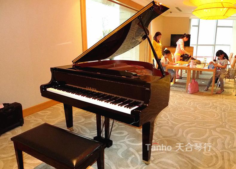 与专业演奏者受益于雅马哈三角钢琴构建的家庭音乐厅
